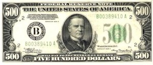 Although $500 bills aren't real, you get the point.