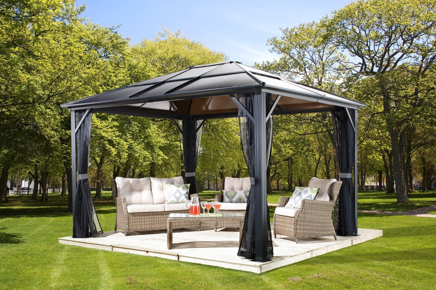 Meridian 10 39 x 14 39 charcoal aluminum hardtop gazebo review best hardtop gazebos for Pergola aluminium x