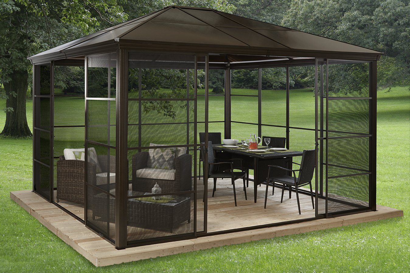 hardtop gazebos best 2018 choices sorted by size. Black Bedroom Furniture Sets. Home Design Ideas