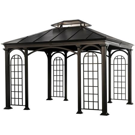 Sometimes, decorations don't need to be flashy. Consider upgrading the infrastructure of your gazebo with grated panels for a modern look.