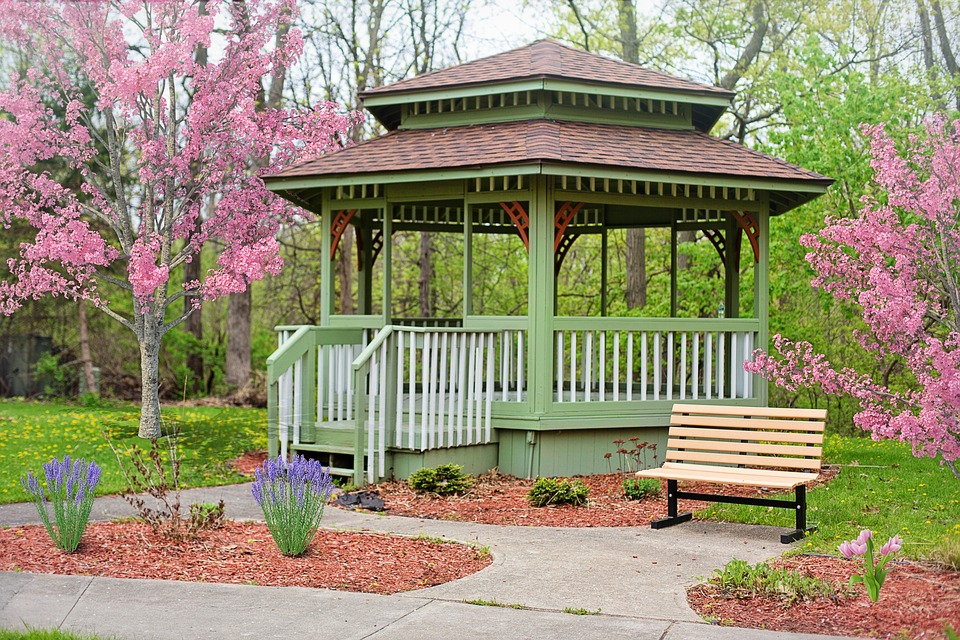 wooden gazebo in the park